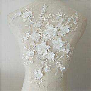 Wedding-Dress-3D-Fabric-Flowers-Pearl-Beads-Lace-Sew-on-Patch-Applique-DIY-L