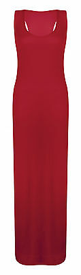 WOMENS LADIES JERSEY MUSCLE RACER BACK MAXI LONG VEST SUMMER DRESS SIZES 8 -26