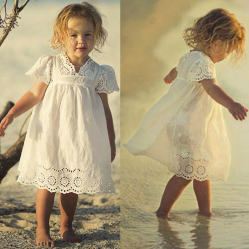 Summer Kids Toddler Baby Girls Lace Party Princess Tutu Dresses Pageant Sundress
