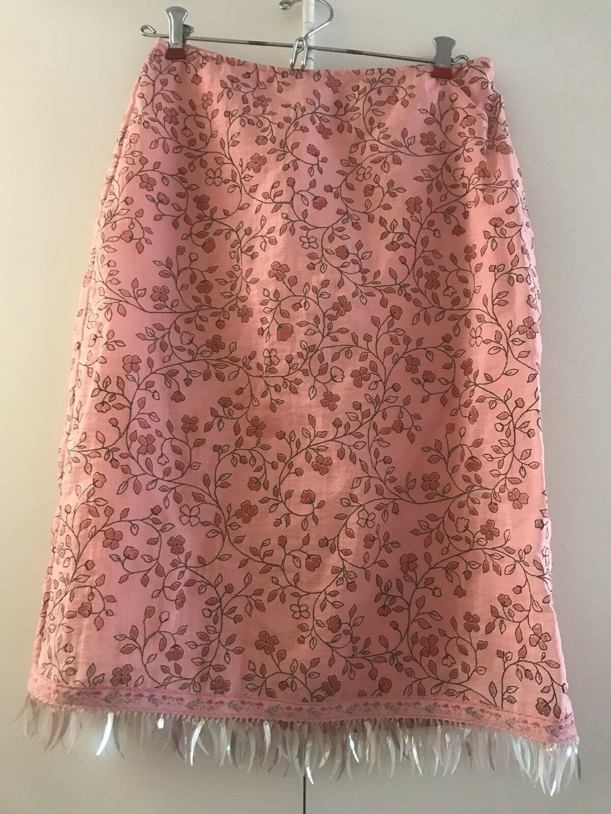 Betsey Johnson Rare Vintage Couture Skirt SZ S Pink w flowers,leaves,sequins