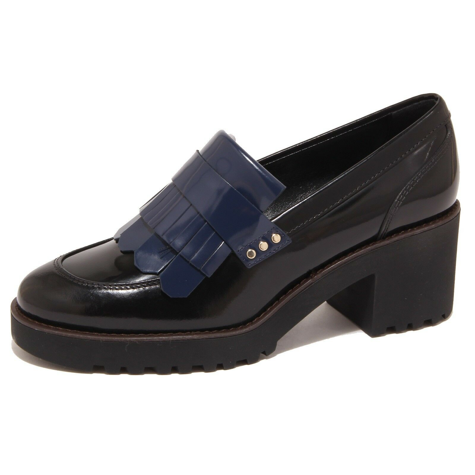 5896O mocassino HOGAN ROUTE nero/blu scarpa donna shoe woman