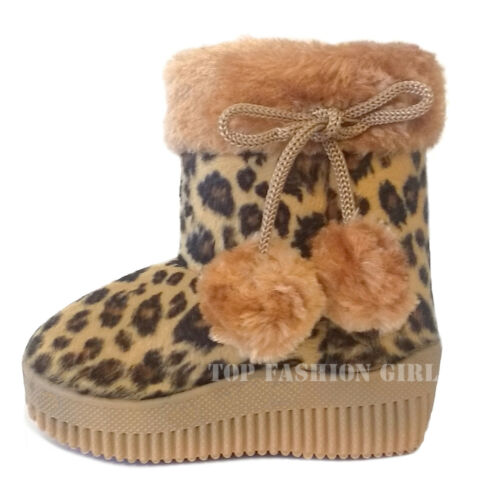 New Leopard Print Baby Boots Soft Faux Fur Toddler Boys Girls Shoe Size 3 to 9