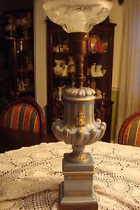 TORCH-Table-FLOOR-Lamp-Light-BLUE-AND-GOLD-hand-painted-NO-SHADE-a5