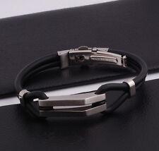 "Unisex Men Stainless Steel Rubber Silicone Bangle Bracelet Black Silve 8"" G5"