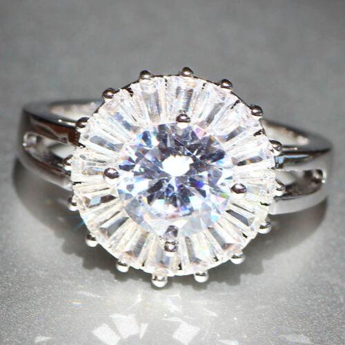 Handmade White SAPHIR pierres précieuses Argent 925 Rempli Mariage Bridal Ring Jewelry