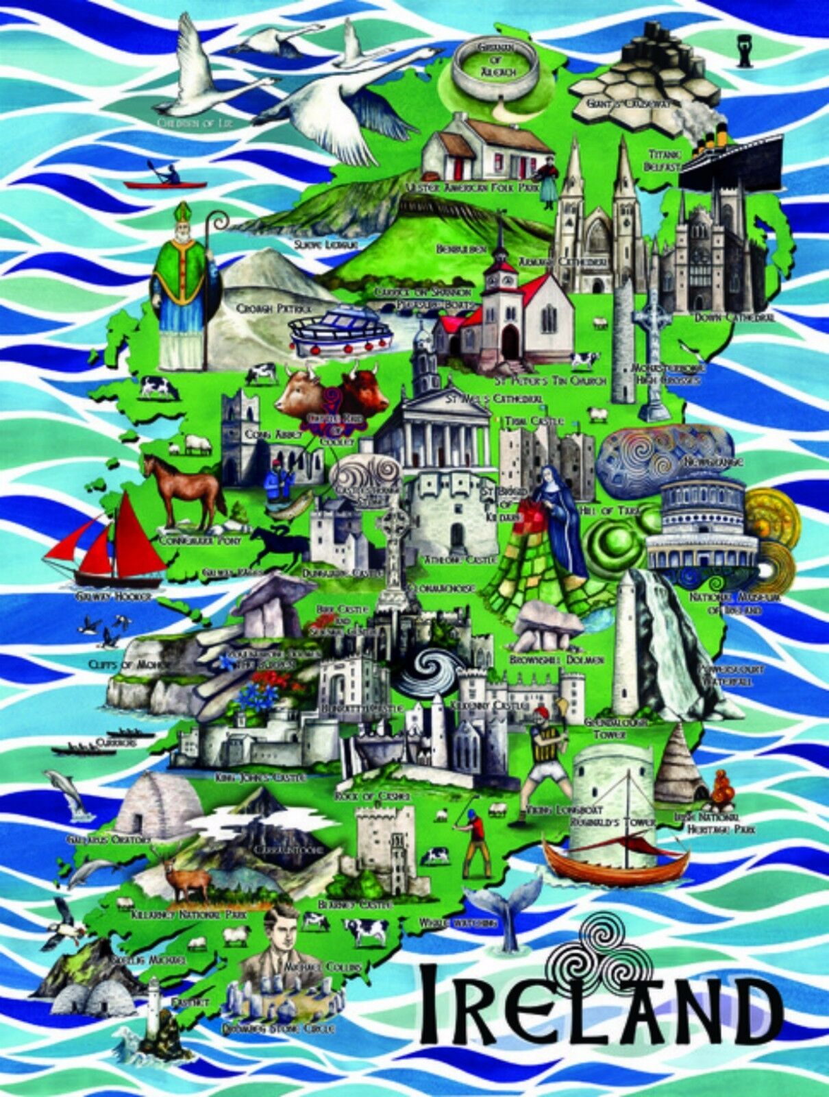 Map of Ireland Irish Attractions Jigsaw Puzzle New