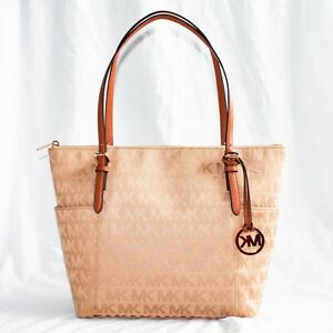 0217a634bf9b4c MICHAEL KORS JET SET EAST WEST ZIP TOTE BAG $248 SIGNATURE BEIGE ...