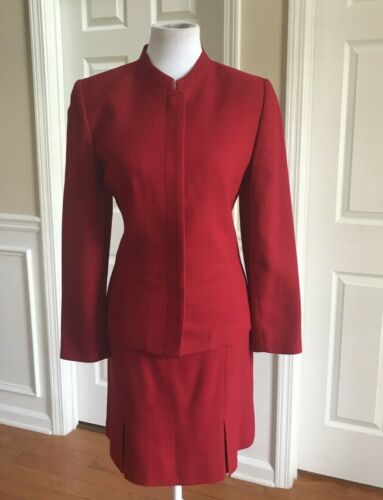 LORD & TAYLOR Red Suit Size 8 P Straight Mini Skir