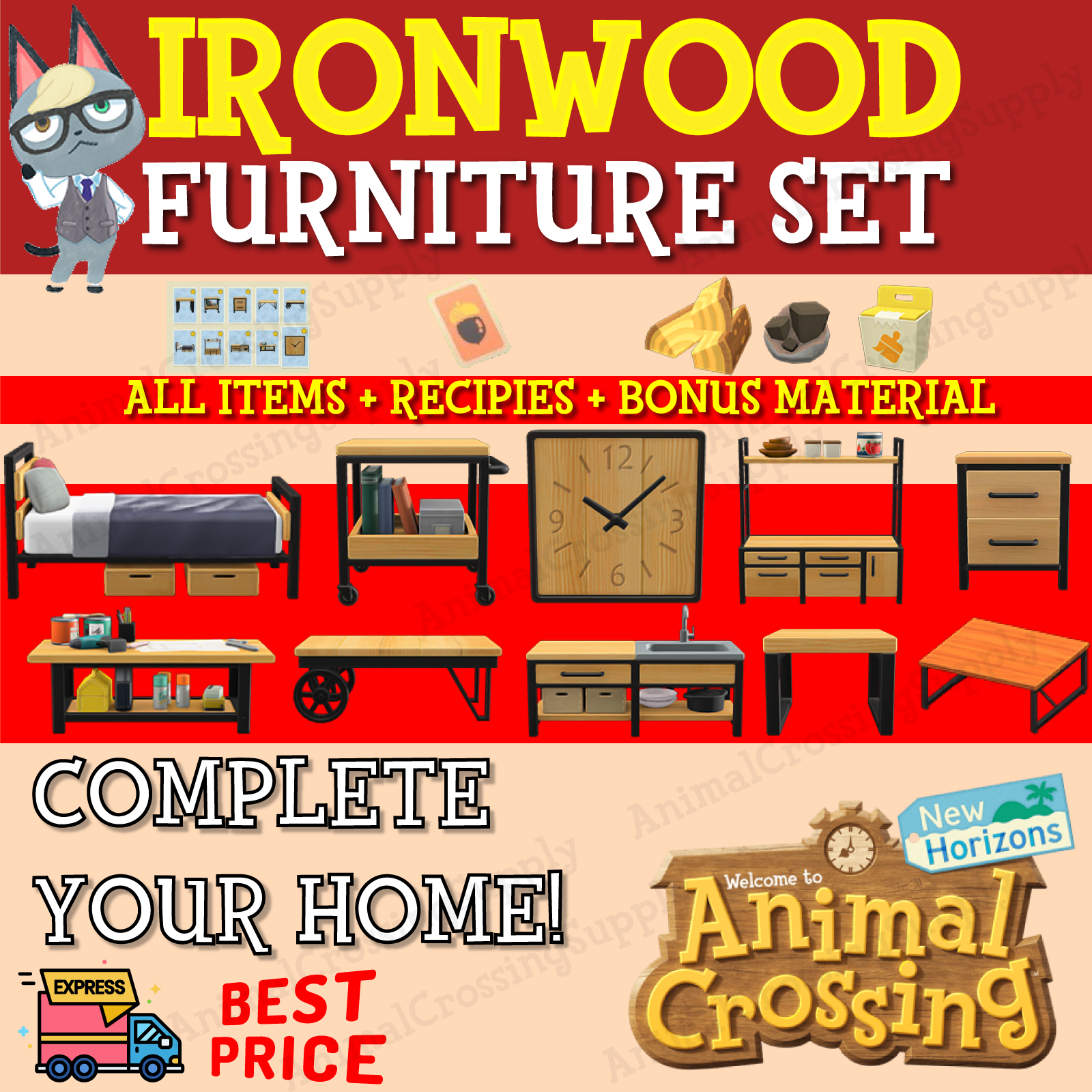 IRONWOOD FURNITURE SET - Animal Crossing New Horizon - SET ... on Ironwood Furniture Animal Crossing  id=48067