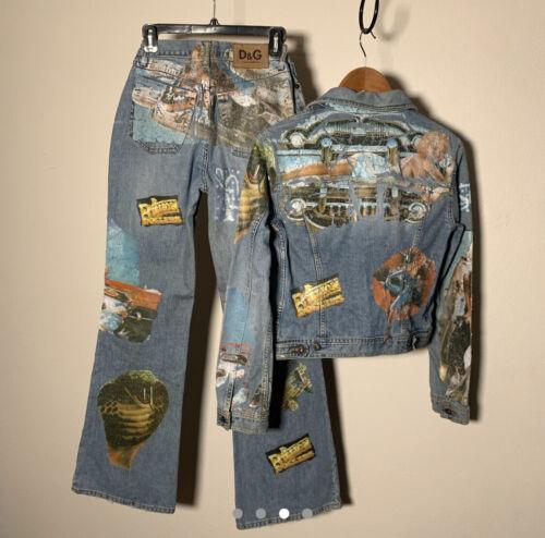 Dolce Gabbana Jean Jacket Pants Vintage 90's Prin… - image 1