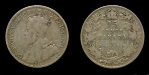 Canada-1915-25-Cent-King-George-V-Silver-Coin-VG-8-Key-Date