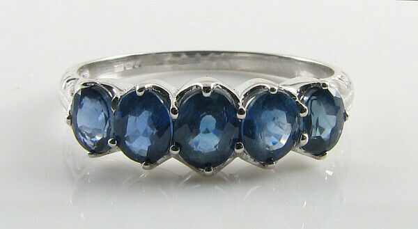 9K 9CT WHITE gold ALL OVAL blueeE SAPPHIRE ART DECO INS ETERNITY RING FREE RESIZE