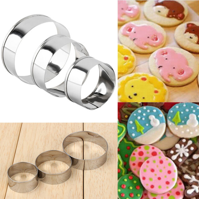 3Pcs Adjustable Stainless Steel Round Circle Cookie Cake Ring DIY Cutter Molds d
