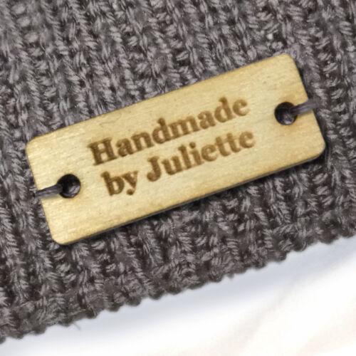 Personalised RETTANGOLO LEGNO BETULLA etichette in legno fatto a mano i prodotti a maglia uncinetto