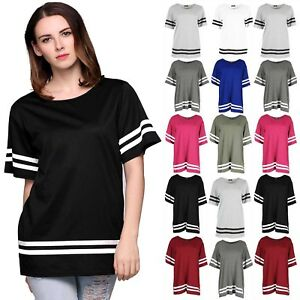 Womens-Varsity-T-Shirts-Ladies-Sleeve-Stripe-Baggy-Oversize-Baseball-Top-8-26