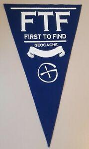 Blue-Geocache-First-to-find-felt-pennant-Geocaching