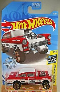 2019-Hot-Wheels-204-Speed-Graphics-Holley-1-10-55-CHEVY-BEL-AIR-GASSER-Red-w5Sp