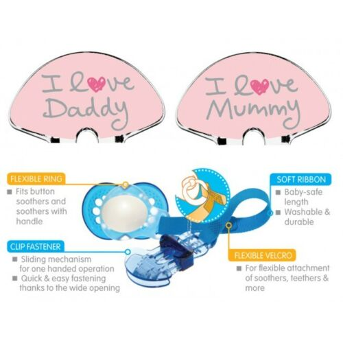 PINK NEW MAM I LOVE MUMMY /& DADDY SOOTHER DUMMY CLIPS