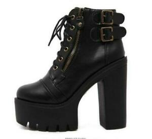 Womens Platform Stiletto Super High Heels Gothic Buckle Strao HighTop Shoes Size