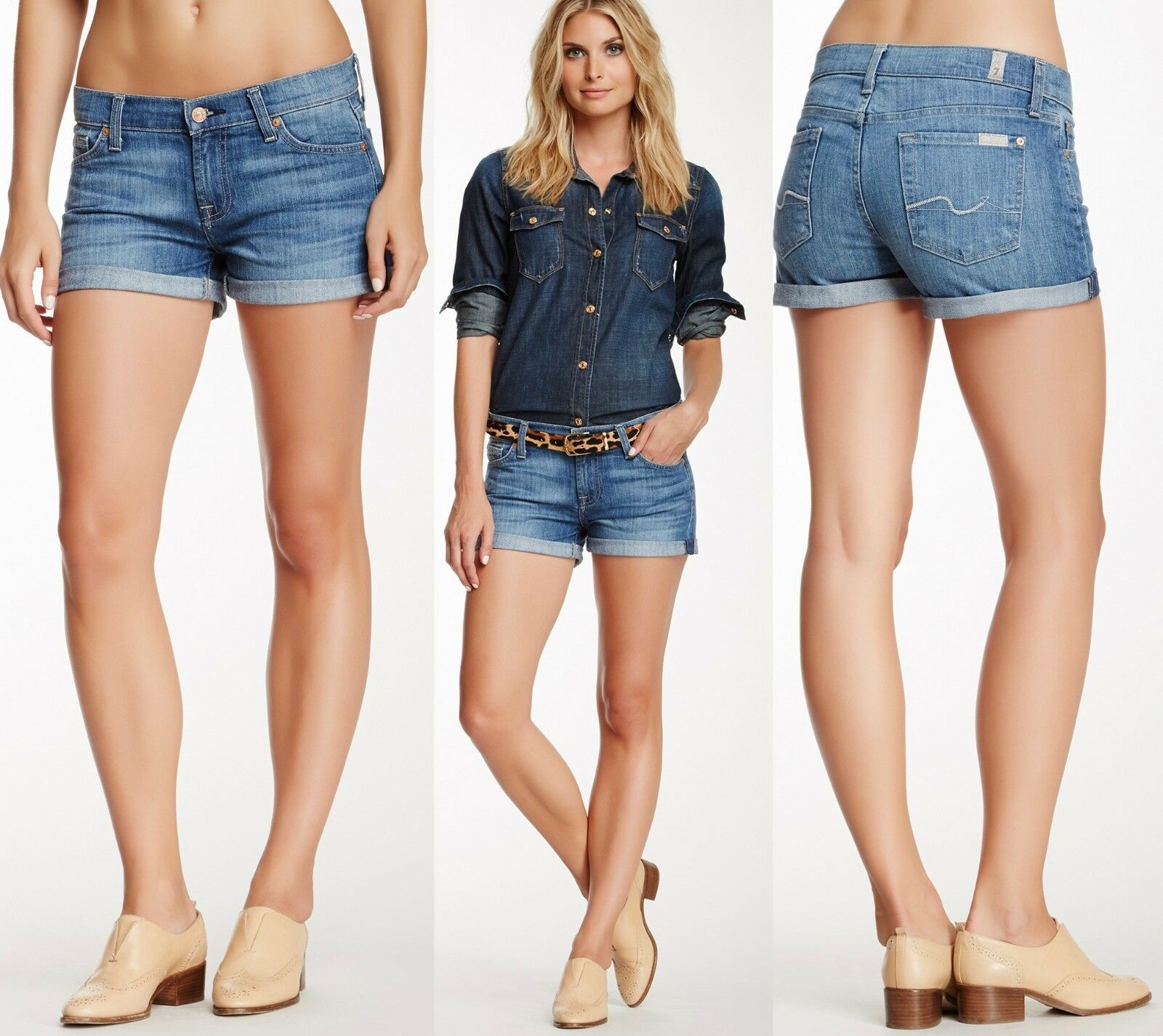 158 7 For All Mankind Fold Over Cuffed Pleasant Street bluee Indigo Denim Shorts
