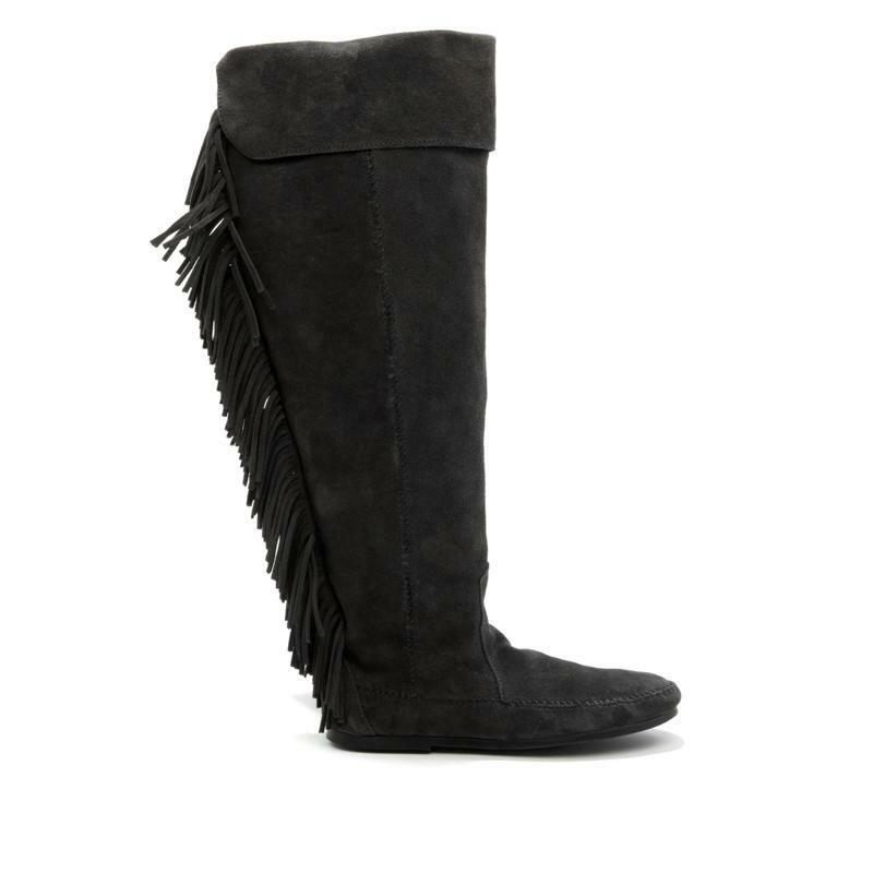 Minnetonka Over-the-Knee Suede Fringe Boot BLACK Damenschuhe Größe 9 NEW 1690 NIB