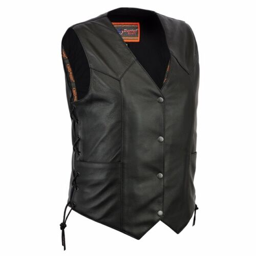 Women/'s Classic Side Lace Motorcycle Vest Rider Biker Apparel Daniel Smart DS252