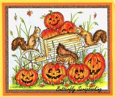Halloween Pumpkin Patch Wood Mounted Rubber Stamp NORTHWOODS P10066 New