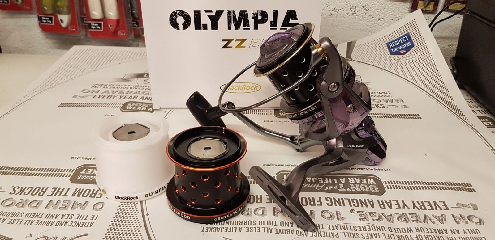 nerorock OLYMPIA ZZ8000 Surfcasting REEL, più di Ricambio Bobine + GRATIS MONO