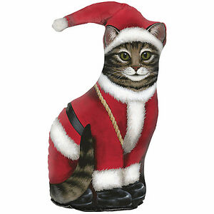 DOOR STOPS - SANTA CAT DOOR STOP - SANTA CAT DOORSTOP - CHRISTMAS DECORATION