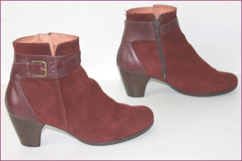 WONDERS Stiefel Stiefeletten Nubuk Bordeaux T 37 seht guter Zustand