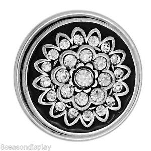 1PC-Big-Snap-Button-Fit-DIY-Bracelet-Pendant-Flower-White-Rhinestone-29mm