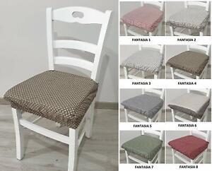 Dettagli su Set 6 Cuscini cori Sedia con Elastico ad infilaggio per sedie con spalliera