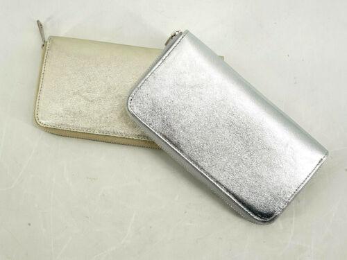 Portemonnaie Geldbörse Metallic silber+gold groß Echtleder