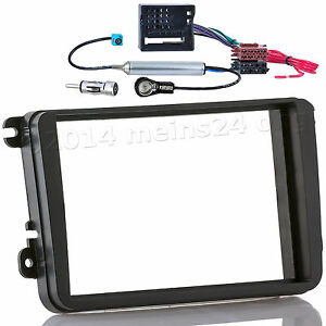 Radio-Blende-fuer-SKODA-Roomster-Fabia-Oktavia-Einbau-Rahmen-CAN-Bus-Adapter-2DIN