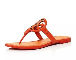 NIB-Tory-Burch-Miller-Leather-Thong-Sandal-8-8-5-Poppy-Orange-Red-240-AUTHENTIC