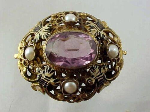 Antique Vintage Gold over Sterling Silver, Amethy… - image 1