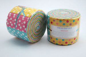 Circus-Day-Out-20-Hand-Rolled-Jelly-Roll-Strips-Fabric-Rolls-2-5-034-x-42-034