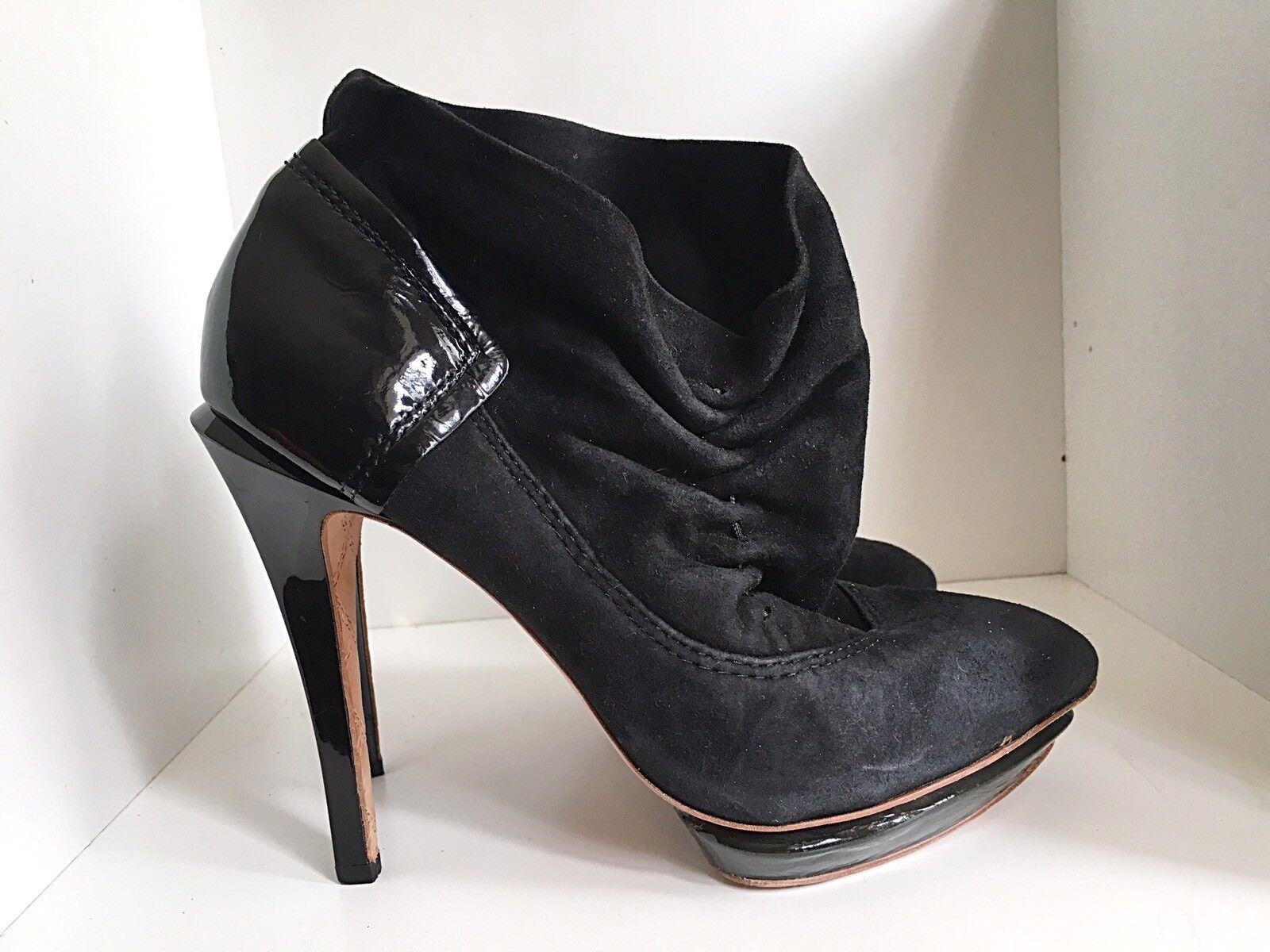 LAMB LAMB LAMB Booties Black Suede Leather 7 M cefe40