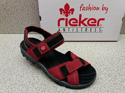 rieker reduziert Top Preis Sport Sandale Klett Leder rot uOxVT