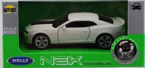 Chevrolet Camaro ZL1 Blanc 1:34-1:39 Welly Métal Voiture New in Box