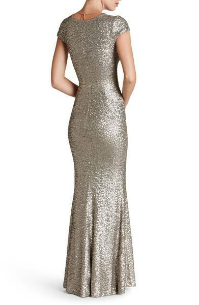 DRESS THE POPULATION 'MICHELLE' SEQUIN PLATINUM GOWN  sz sz sz M ce2e18