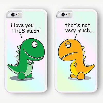 Funny Cute Best Friends BFF Dinosaurs Matching Hard Phone Case Cover for iPhone