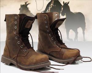 Herren schnüren Schuhe Vintage Militär Cowboy Arbeiter