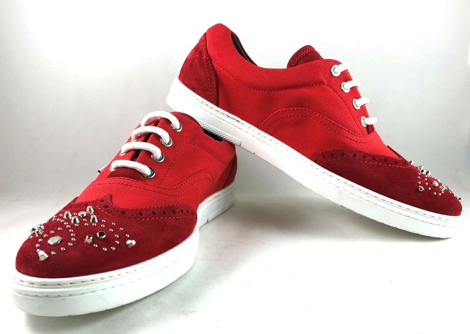 Jimmy Choo Lace Brian Red shoes sneakers w/ studs size 43