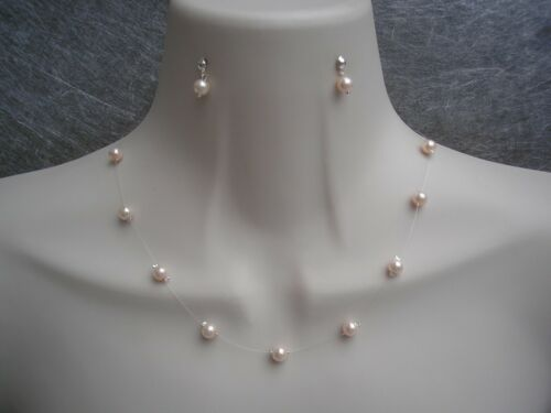 Floating Illusion Pearl Necklace /& Earrings Set Bridesmaid Bridal Wedding 17C