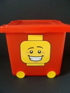 Image Is Loading NEW LEGO Wheeled Storage Bin Tub Red Stacking