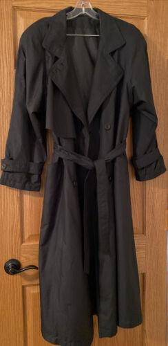 UTEX DESIGN WOMEN'S BLACK BUTTON UP TRENCH COAT SI