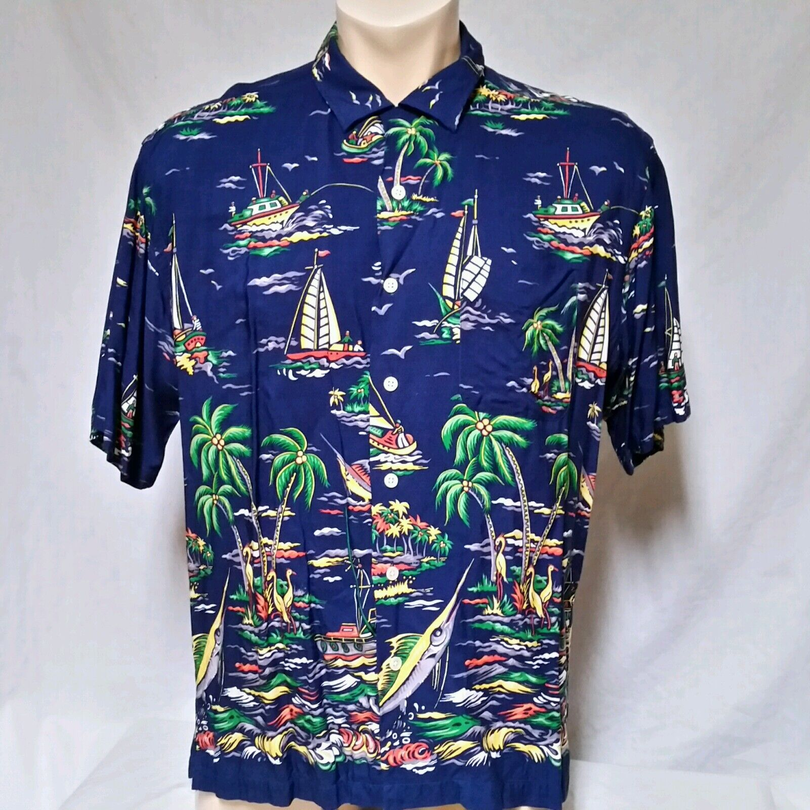VTG Polo Ralph Lauren Shirt 90's Sailboat Riviera Bear Stadium 92 Yacht RLX XL