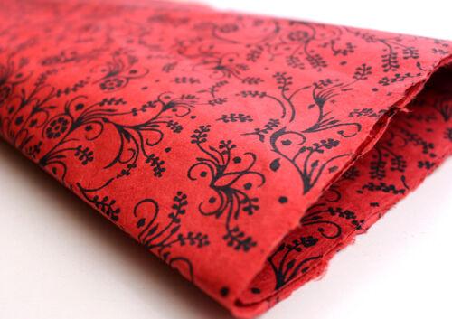Black Flower /& Leaf Printed Red Handmade Gift Wrapping Lokta Paper Sheets