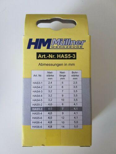 HM Müllner HAS5-3 ALU-Blindnieten 75Stk 7,0mm Ø 4.0 Bohrstärke: 4,1mm *